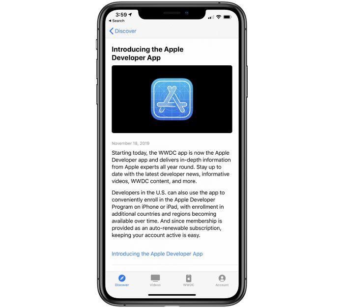 苹果WWDC更名为苹果开发者应用 可帮助了解新闻/视频等内容