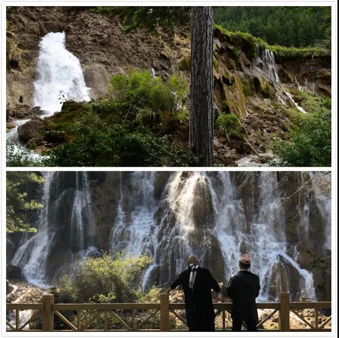 上图:2017年8月8日地震后的诺日朗瀑布。受访者供图;   下图:2019年9月29日,恢复后的诺日朗瀑布。新京报记者向凯 摄