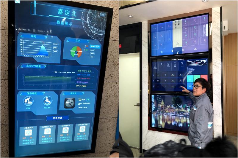 嘉定汽车站智能公厕和上海火车站南广场智能公厕的数据显示屏