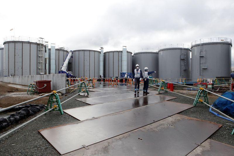 福岛第一核电站的核污水贮存装置(路透社)