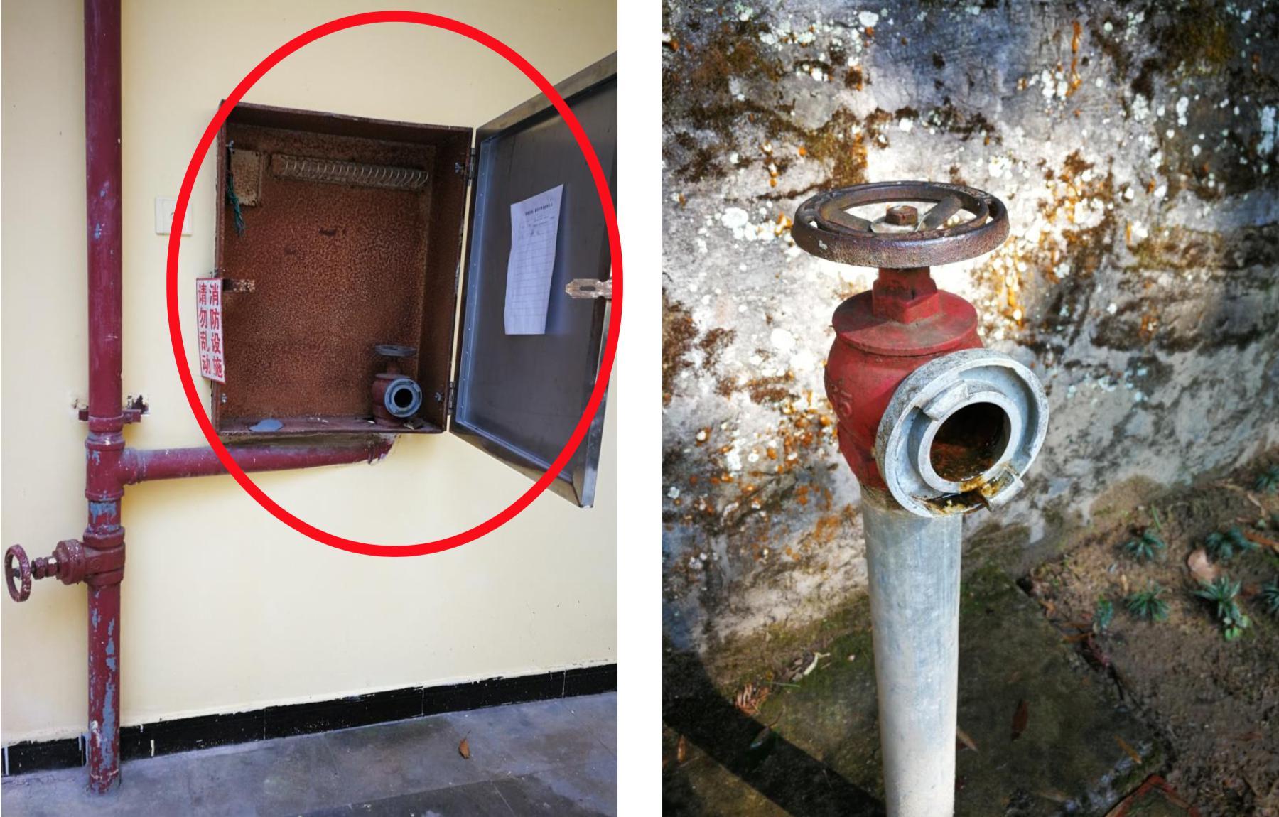 暗访发现江西宜春国保单位马祖塔亭内消火栓箱内水枪水带缺失,栓口锈蚀漏水。国家文物局供图