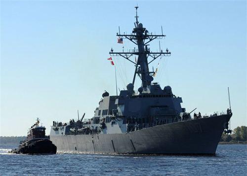 """图为美国""""格雷夫利""""号驱逐舰。"""