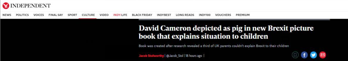 """英国将出版""""脱欧""""儿童故事书:约翰逊成一头奶牛"""