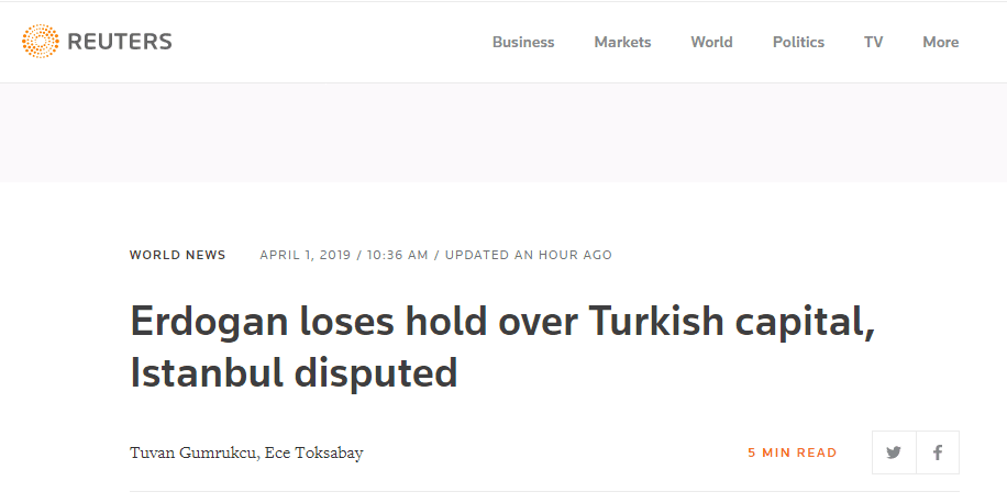 土耳其地方选举:现任总统失去对首都控制权