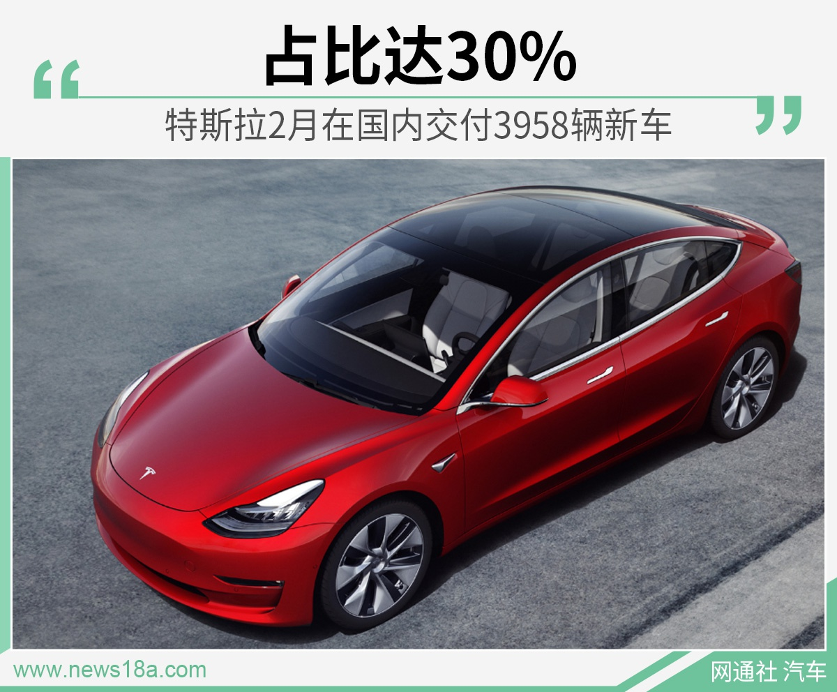 特斯拉2月在国内交付3958辆新车