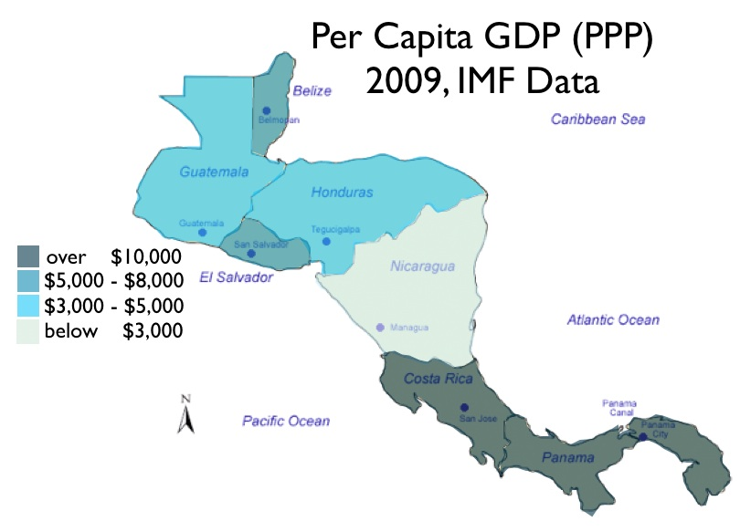 国际货币基金组织(IMF)2009年的数据,洪都拉斯与危地马拉同属人均GDP3000-5000美元行列,略好于尼加拉瓜