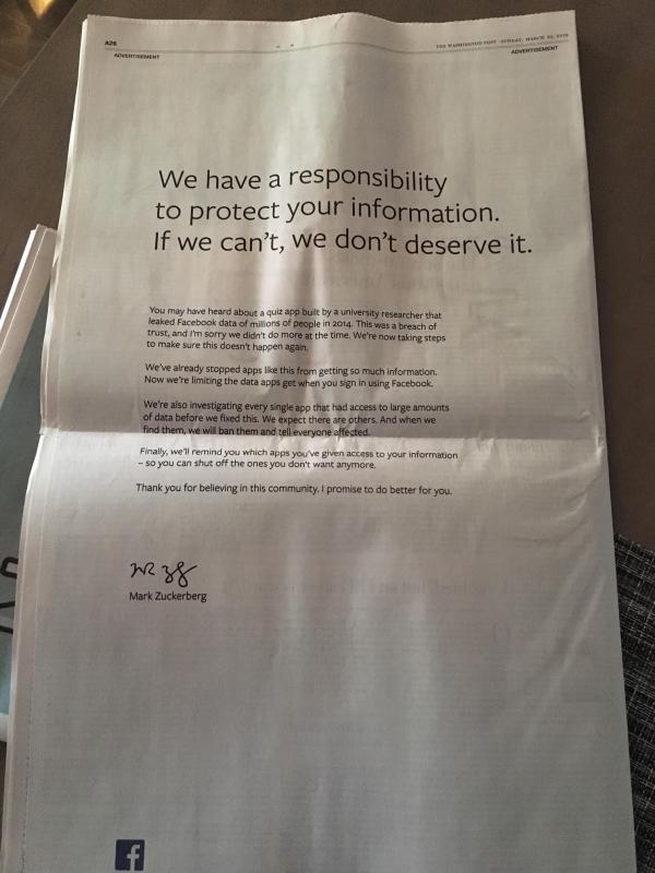 扎克伯格在英美9家报纸登报道歉 正式为泄密说了Sorry