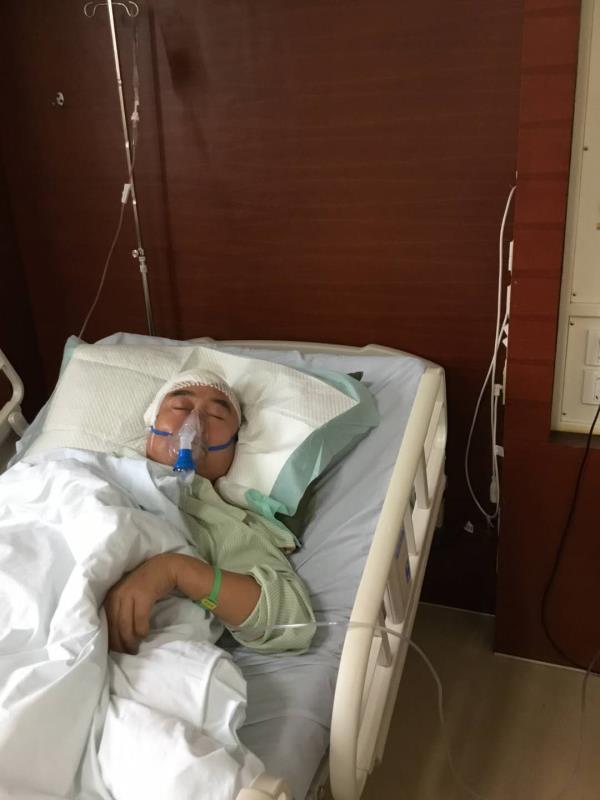 2017年1月,李庆荣因被诊断为脑肿瘤做了手术。 受访者供图