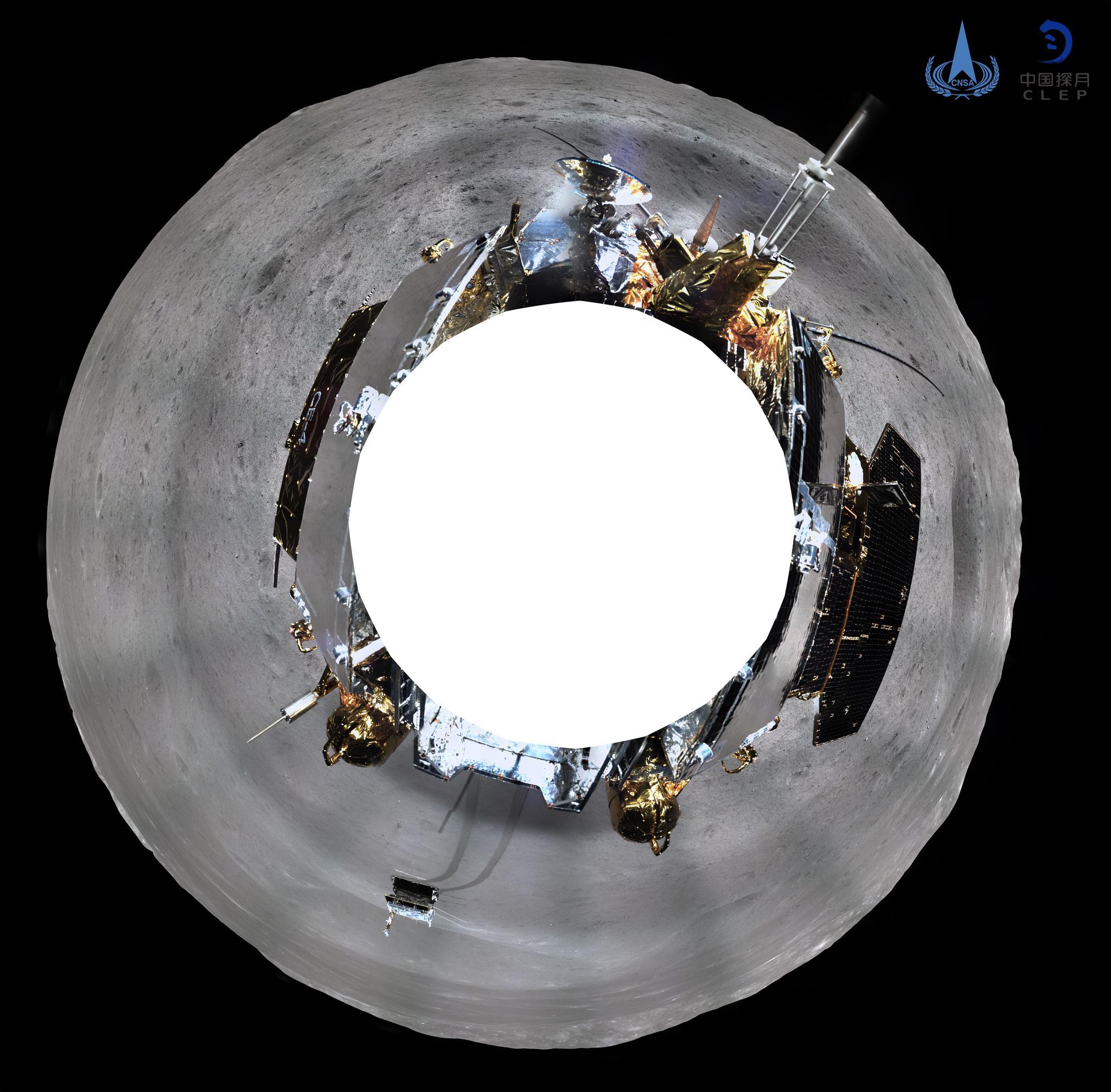 嫦娥四号着陆器地形地貌相机环拍全景图(方位投影)。国家航天局供图