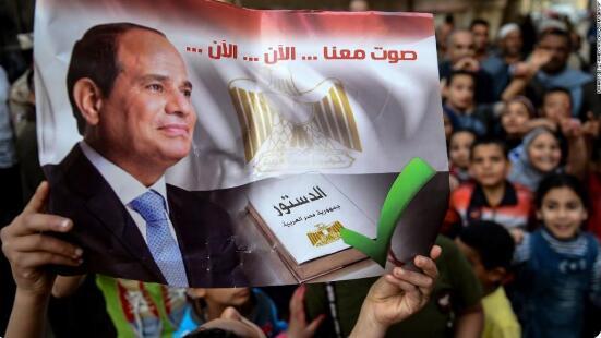埃及通过全民公投,总统塞西将可留任至2030年。(图源:推特)