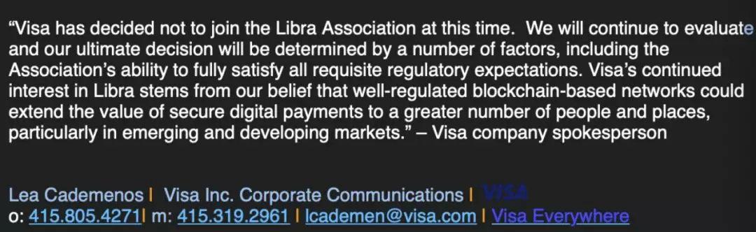 ▲Visa公司对《国际金融报》记者的采访回复