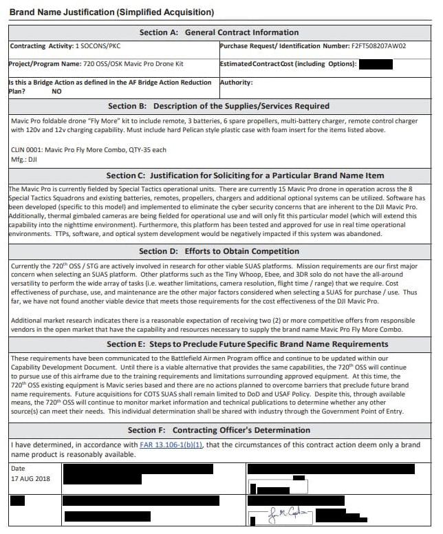 美国空军公布的采购文件截图