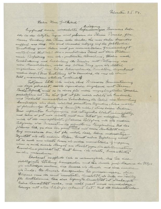 """喜欢因斯坦于1954年亲笔写下的""""天主之信""""。图/美联社"""