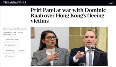 英国泰晤士报报道截图,左边为英国内政大臣普丽蒂·帕特尔,右边为多米尼克·拉布。