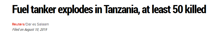坦桑尼亚油罐车爆炸致57死 多人因收集漏油遇难