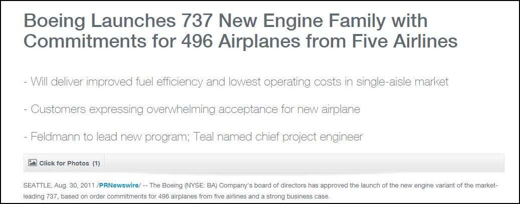 2011年8月30日,波音宣布737新发动机改型,将提高燃油效率,降低运营成本(图源:波音公司)