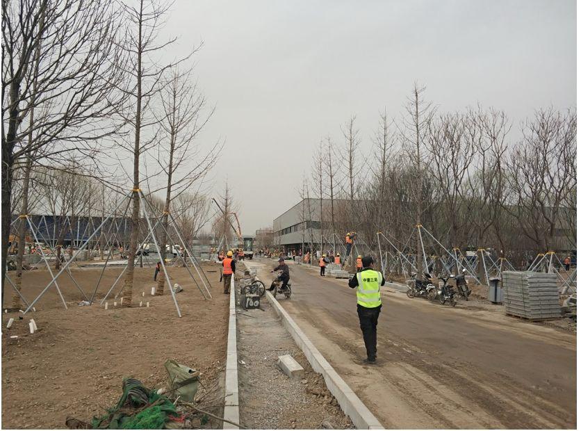 雄安市民服务中心前,工人们仍在忙碌。郭媛丹、倪浩 摄