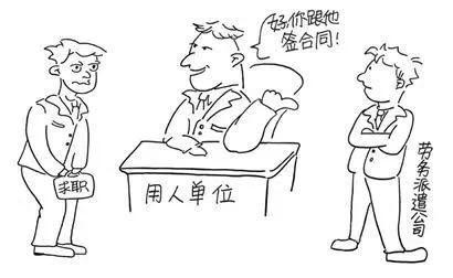 劳务派遣用人简易漫画。图片来自网络(作者不详)。
