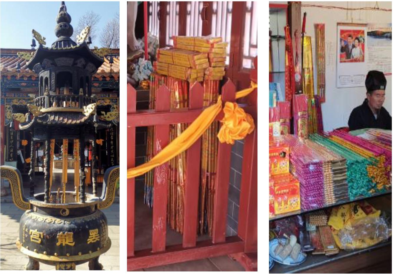 暗访发现云南昆明的省保单位龙泉观和黑龙宫内,燃烧和售卖超规格的长香、粗香。国家文物局供图
