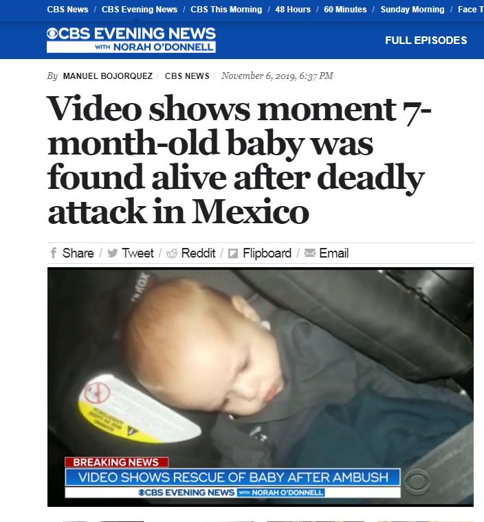 【蜗牛棋牌】美国摩门教家族9人在墨西哥被枪杀 一婴儿幸存
