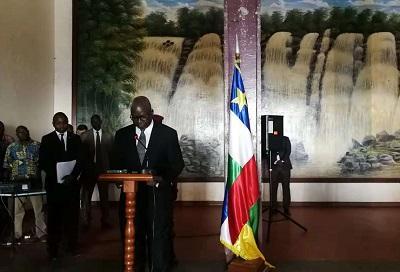 中非国民议会议长洛朗•恩贡致辞。(图片来源:中国驻中非大使馆网站)