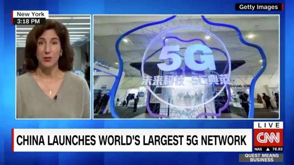 ▲CNN经济分析师拉纳·福鲁哈尔在节目中谈论中国5G技术发展(视频截图)