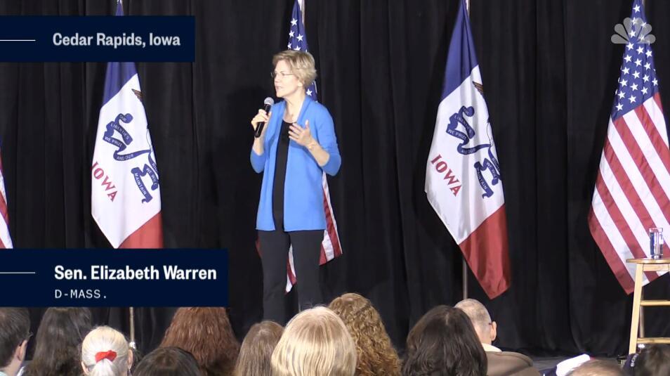 沃伦在爱荷华州进行演讲,图片来自NBC新闻网