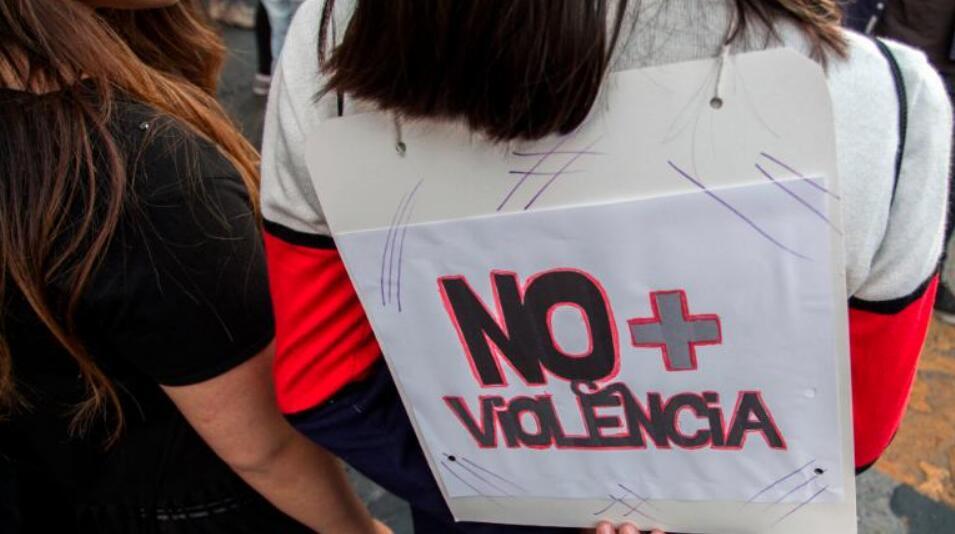 (周日在智利的圣地亚哥,人们抗议针对女性的暴力行为 图片来源:CNN)