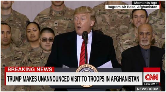 特朗普访问驻阿富汗美军基地 图自CNN