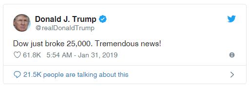 """""""首席分析师""""特朗普满血回生:""""道指方才打破25000点。大消息!"""""""