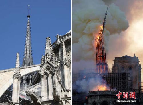 资料图:法国巴黎圣母院发生大火,标志性的尖塔在大火中被烧毁。