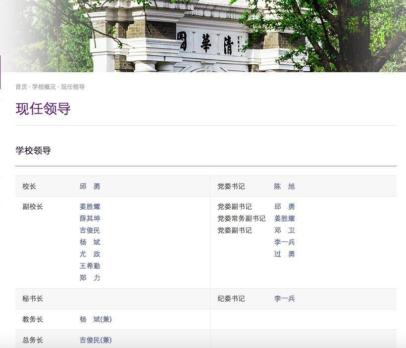 清华大学迎来密集人事变动 王希勤被任命为清华大学常务副校长