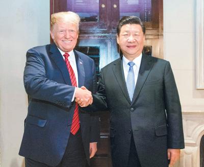 当地时间十二月一日,国家主席习近平应邀同美国总统特朗普在阿根廷布宜诺斯艾利斯共进晚餐,举行会晤。  新华社记者 李学仁摄