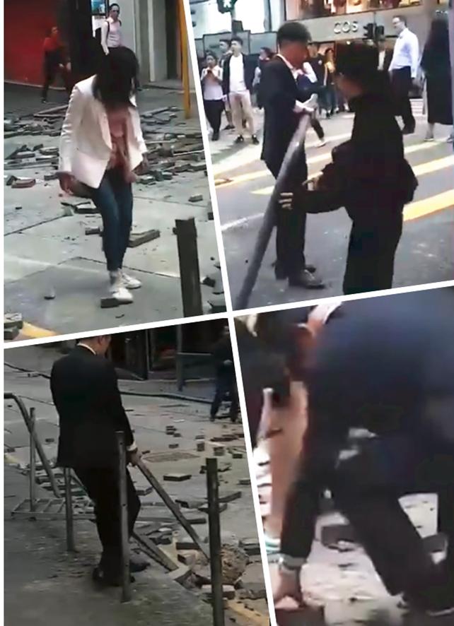 香港市民自发清路障(图源:视频截图)