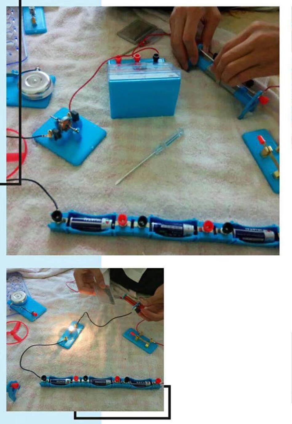 小雪陪儿子一起做物理实验。