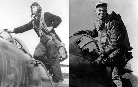 """中国人民志愿军飞行员韩德彩(左)击落美军""""王牌""""飞行员费希尔(右)"""