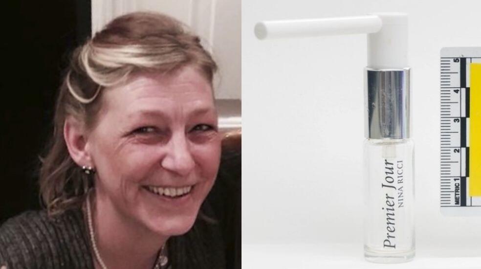 """左图:""""诺维乔克""""神经毒剂受害者唐·斯特吉斯 图片来源:法新社 右图:斯特吉斯死亡后,人们找到了一瓶伪造的香水 图片来源:路透社"""