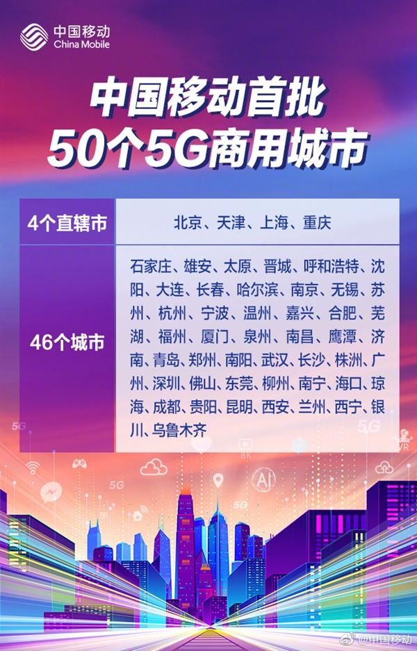 5G商用今日正式啟動 5G首批城市名單出爐