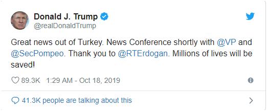"""特朗普推特截图,他称停火协议让""""数百万人生命得以拯救"""""""