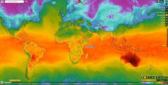 全球温度分布,深红色部分为澳大利亚。图片来源:CNN