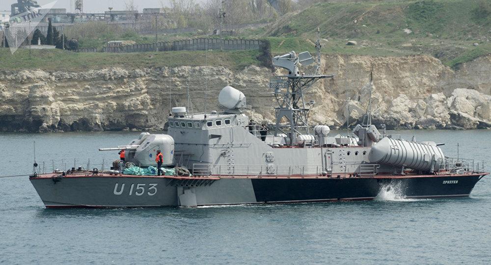 """仍保留""""白蚁""""逆舰导弹发射装配的""""普里卢基""""号 图片来自俄罗斯卫星网"""