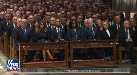 特朗普与4位前总统出席葬礼。(福克斯信息)