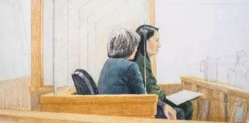 原料图:添拿大媒体公布的保释听证会现场素描