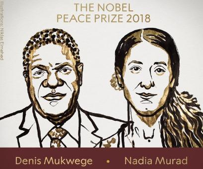 原标题:2018诺贝尔和平奖揭晓 刚果医生和伊拉克少女获奖