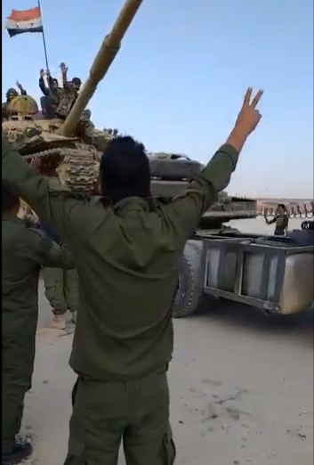 进入曼比季市区的叙利亚阿拉伯陆军 图源:社交媒体