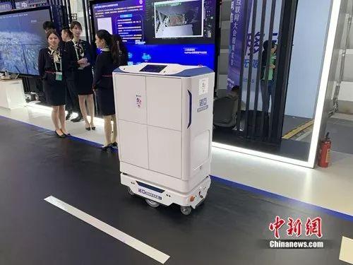 医院物流机器人。中新网 吴涛 摄