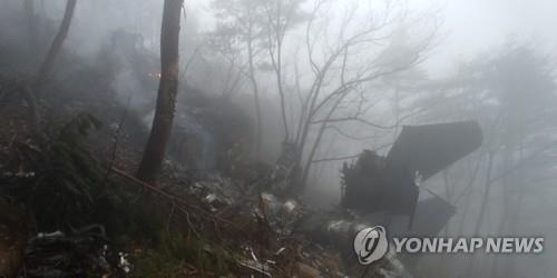战机坠毁事故现场。 图片来源:韩联社