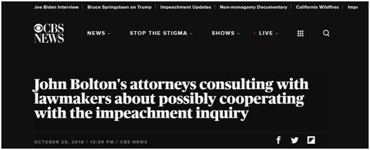 博尔顿反击?其律师被曝或就弹劾特朗普进行配合