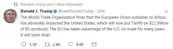 特朗普:美国将向欧