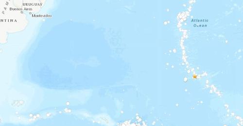 南大泰西中脊海域发生5.0级地震。(图片来源:美国地质勘探局网站截图)